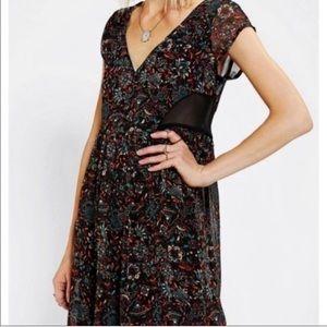 UO Ecote Sheer Black Floral V-Neck Baby Doll Dress